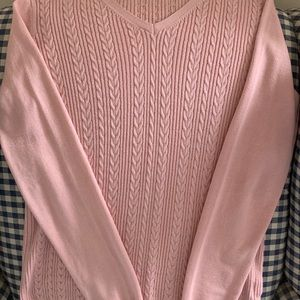 Talbots pale pink cabled v-neck sweater. S